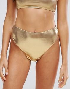 Плавки бикини с эффектом металлик и высоким вырезом по бедру New Look - Золотой