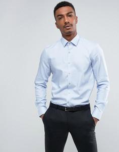 Эластичная строгая рубашка зауженного кроя в ломаную клетку Calvin Klein - Синий