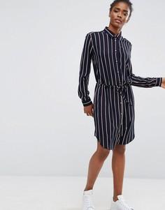 Платье-рубашка в полоску с ремнем Mbym - Мульти