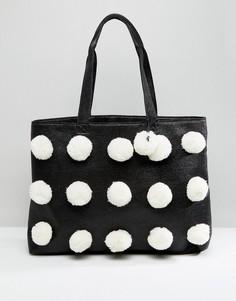 Пляжная сумка-шоппер с помпонами ASOS - Мульти