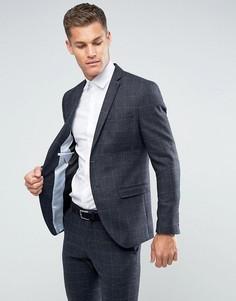 Зауженный пиджак из ткани с добавлением шерсти Selected Homme - Темно-синий