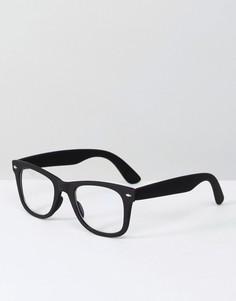 Черные очки в стиле ретро с прозрачными стеклами и фильтром синего света ASOS - Черный