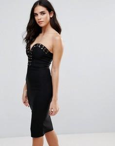 Облегающее платье со шнуровкой Rare - Черный