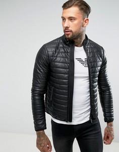 Черная дутая байкерская куртка из искусственной кожи Armani Jeans - Черный