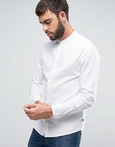 Узкая рубашка с воротником на пуговице из ткани с добавлением льна Only & Sons - Белый