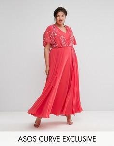 Плиссированное платье макси с декоративной отделкой ASOS CURVE - Розовый