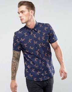 Рубашка с коротким рукавом и цветочным принтом Bellfield - Темно-синий