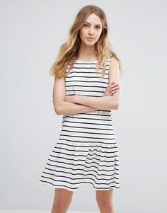 Платье в полоску с удлиненным подолом Ichi - Мульти