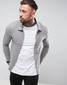Трикотажная облегающая куртка Харрингтон ASOS - Серый