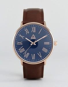 Часы с темно-синим циферблатом и римскими цифрами ASOS - Коричневый