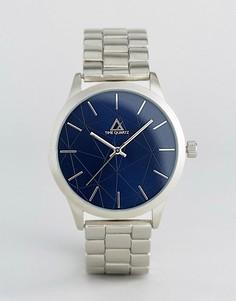 Серебристые наручные часы с темно-синим циферблатом ASOS - Серебряный