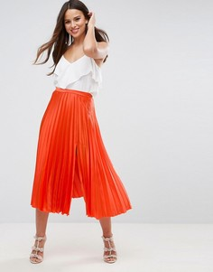 Атласная плиссированная юбка миди с разрезом сбоку ASOS - Оранжевый