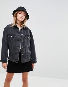 Черная свободная джинсовая куртка ASOS - Черный