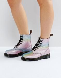 Блестящие ботинки с 8 парами люверсов Dr Martens - Мульти