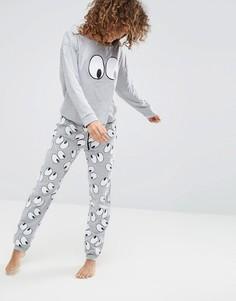 Пижамный комплект с лонгсливом и джоггерами ASOS - Мульти