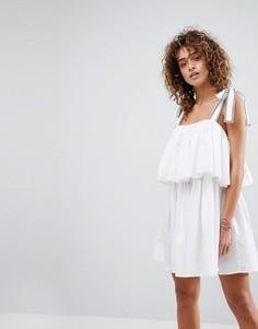 Двухслойное пляжное платье с завязками на плечах ASOS - Белый