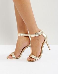 Декорированные босоножки на каблуке с пряжками ASOS HIGH SOCIETY - Золотой