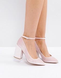 Остроносые туфли на высоком блочном каблуке ASOS PIPELINE - Розовый