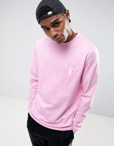 Длинная футболка с вышивкой ASOS - Розовый
