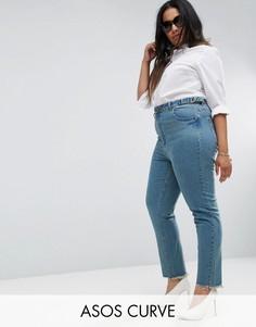 Джинсы слим в винтажном стиле с асимметричными краями ASOS CURVE FARLEIGH - Синий