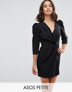 Платье мини с запахом ASOS PETITE - Черный
