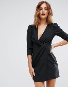 Платье мини с запахом спереди ASOS - Черный