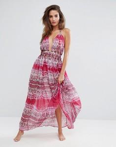 Розовое шифоновое пляжное платье макси со змеиным принтом и отделкой на талии ASOS - Мульти