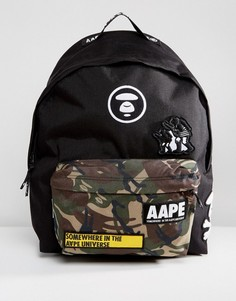 Рюкзак с камуфляжным принтом и логотипом на кармане AAPE By A Bathing Ape - Черный