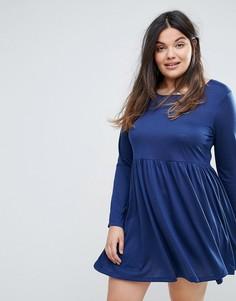 Короткое приталенное платье из трикотажа Brave Soul Plus - Темно-синий