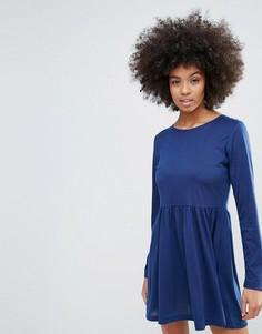 Трикотажное короткое приталенное платье Brave Soul - Темно-синий