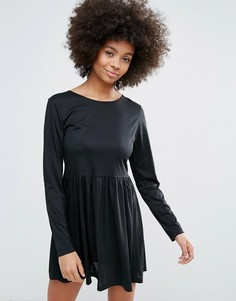 Трикотажное короткое приталенное платье Brave Soul - Черный