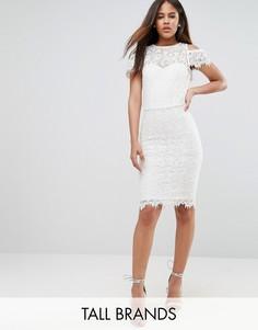 Кружевное платье-футляр с открытыми плечами Paper Dolls Tall - Кремовый