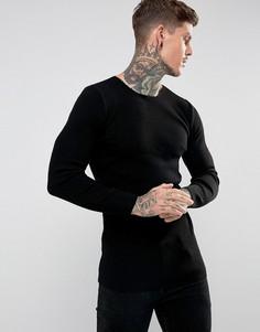 Черный длинный облегающий джемпер в рубчик ASOS - Черный