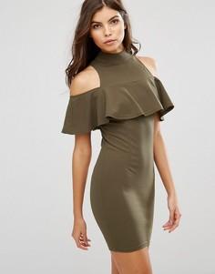 Платье мини с высоким воротом и оборкой AX Paris - Зеленый