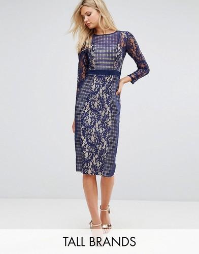 Контрастное кружевное платье-футляр с длинными рукавами Little Mistress Tall - Темно-синий