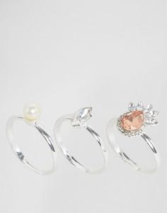 3 кольца с жемчугом и камнями Johnny Loves Rosie - Серебряный
