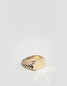 Золотистое кольцо-печатка Icon Brand - Золотой