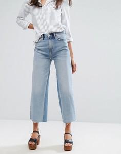 Укороченные выбеленные широкие джинсы с необработанным краем M.i.h Jeans - Синий