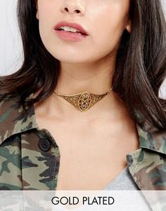 Позолоченное ожерелье-чокер с отделкой в форме щита Regal Rose Verona - Золотой