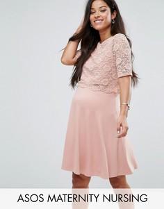 Короткое приталенное платье в два слоя с кружевом ASOS Maternity NURSING - Розовый