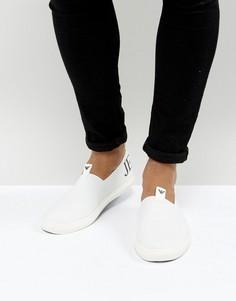 Белые кеды-слипоны с логотипом Armani Jeans - Белый