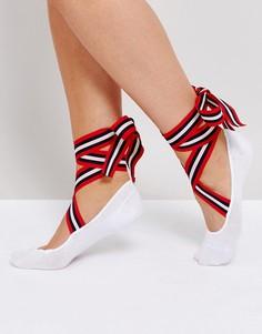 Низкие носки с полосатыми лентами-завязками в балетном стиле ASOS - Белый