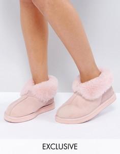 Тапочки-ботинки из овчины Ozlana Launceston - Розовый