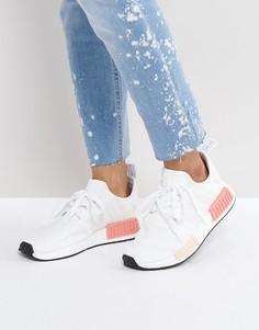 Бело-розовые кроссовки adidas Nmd R1 - Белый