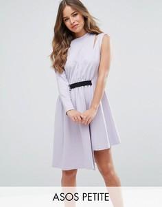 Платье на одно плечо с D-образной пряжкой ASOS PETITE - Фиолетовый
