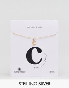 Позолоченный браслет с буквой C Dogeared Love Letter - Золотой