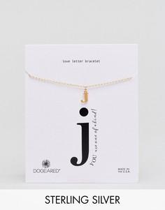 Позолоченный браслет с буквой J Dogeared Love Letter - Золотой