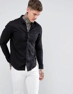 Облегающая рубашка с логотипом AllSaints - Черный