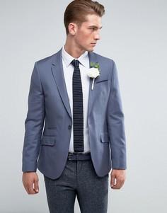 Синий блейзер скинни из 100% шерсти ASOS Wedding - Синий