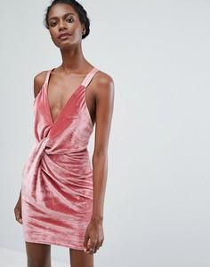 Бархатное платье мини с перекрутом Endless Rose - Розовый